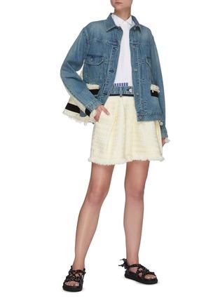 Figure View - Click To Enlarge - SACAI - Tweed Contrast Panel Patch Pocket Denim Jacket