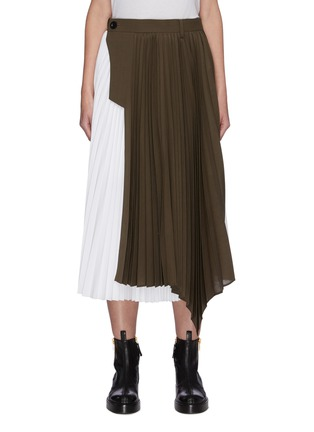 Main View - Click To Enlarge - SACAI - Contrast Panel Asymmetric Hem Pleated Midi Skirt