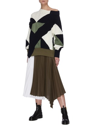 Figure View - Click To Enlarge - SACAI - Contrast Panel Asymmetric Hem Pleated Midi Skirt