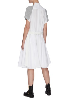 Back View - Click To Enlarge - SACAI - Cotton Cardigan Overlay Pleated Shirt Dress