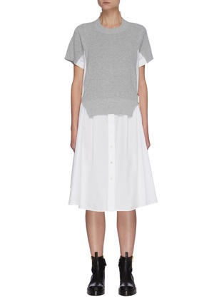 Main View - Click To Enlarge - SACAI - Cotton Cardigan Overlay Pleated Shirt Dress