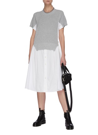 Figure View - Click To Enlarge - SACAI - Cotton Cardigan Overlay Pleated Shirt Dress