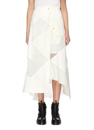 Main View - Click To Enlarge - SACAI - Solid mix asymmetric skirt