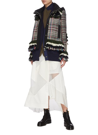 Figure View - Click To Enlarge - SACAI - Solid mix asymmetric skirt