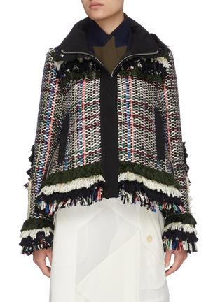 Main View - Click To Enlarge - SACAI - Frayed tweed jacket