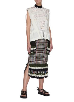 Figure View - Click To Enlarge - SACAI - Tassel Fringe Accent Drawstring Waist Tweed Skirt