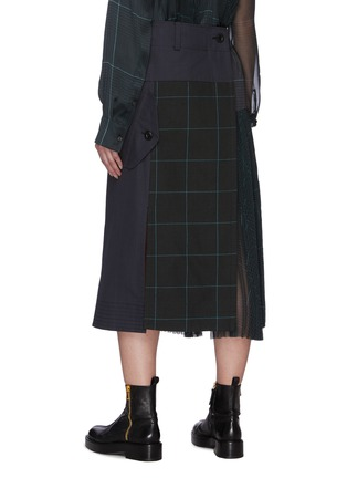 Back View - Click To Enlarge - SACAI - Deconstructed Contrast Panel Glen Check Midi Skirt