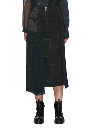 Main View - Click To Enlarge - SACAI - Deconstructed Contrast Panel Glen Check Midi Skirt