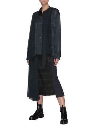 Figure View - Click To Enlarge - SACAI - Deconstructed Contrast Panel Glen Check Midi Skirt