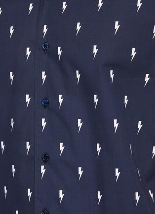 - NEIL BARRETT - Allover Thunderbolt Print Cotton Hawaiian Shirt
