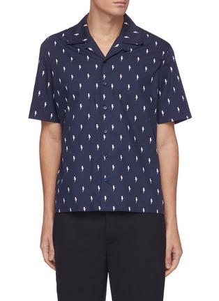 Main View - Click To Enlarge - NEIL BARRETT - Allover Thunderbolt Print Cotton Hawaiian Shirt