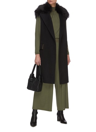 Figure View - Click To Enlarge - THEORY - Elastic Waist Wide Leg Silk Blend Pants