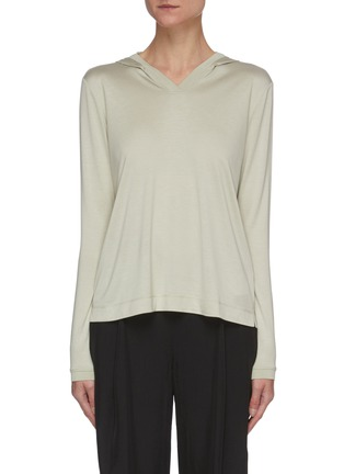 Main View - Click To Enlarge - THEORY - V-neck Hood Cashmere Blend Sweatshirt