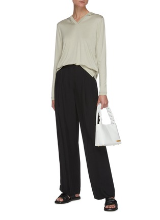 Figure View - Click To Enlarge - THEORY - V-neck Hood Cashmere Blend Sweatshirt