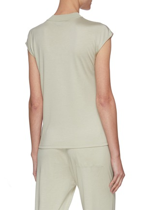 Back View - Click To Enlarge - THEORY - Mock Neck Cap Sleeve Silk Blend Top