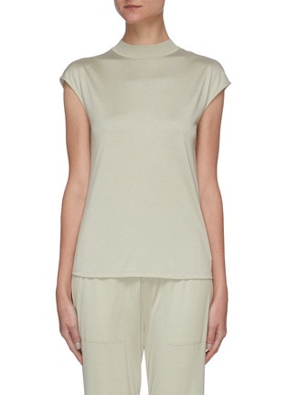 Main View - Click To Enlarge - THEORY - Mock Neck Cap Sleeve Silk Blend Top