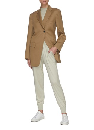 Figure View - Click To Enlarge - THEORY - Elastic Waist Cuff Leg Silk Blend Jogger Pants