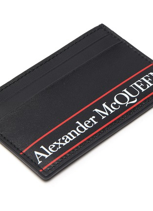 Detail View - Click To Enlarge - ALEXANDER MCQUEEN - Selvedge' Logo print leather cardholder