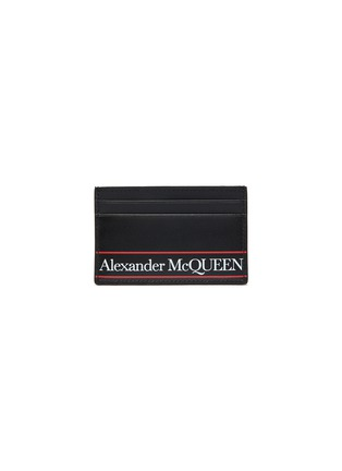 Main View - Click To Enlarge - ALEXANDER MCQUEEN - Selvedge' Logo print leather cardholder
