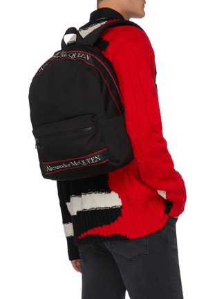 Figure View - Click To Enlarge - ALEXANDER MCQUEEN - Selvedge' logo jacquard backpack