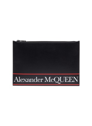 Main View - Click To Enlarge - ALEXANDER MCQUEEN - Selvedge' Logo Print Leather Pouch