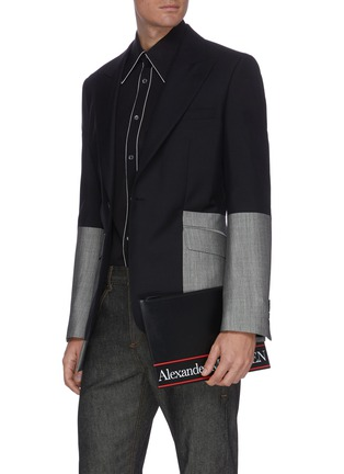 Figure View - Click To Enlarge - ALEXANDER MCQUEEN - Selvedge' Logo Print Leather Pouch