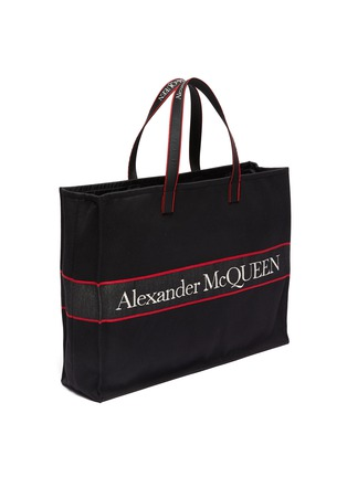 Detail View - Click To Enlarge - ALEXANDER MCQUEEN - 'Selvedge' Logo Jacquard Canvas Tote
