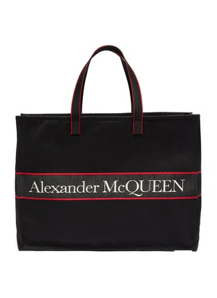 Main View - Click To Enlarge - ALEXANDER MCQUEEN - 'Selvedge' Logo Jacquard Canvas Tote