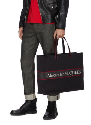 Figure View - Click To Enlarge - ALEXANDER MCQUEEN - 'Selvedge' Logo Jacquard Canvas Tote