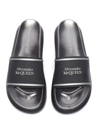 Detail View - Click To Enlarge - ALEXANDER MCQUEEN - Logo oversize pool slides