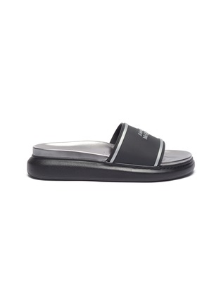 Main View - Click To Enlarge - ALEXANDER MCQUEEN - Logo oversize pool slides