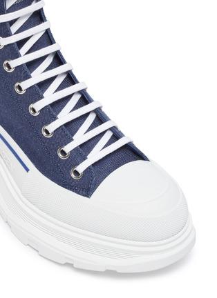 Detail View - Click To Enlarge - ALEXANDER MCQUEEN - 'Tread Slick' contrast sole denim high top sneakers