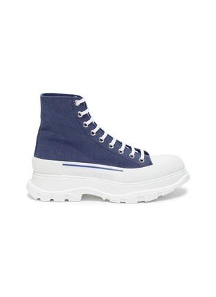 Main View - Click To Enlarge - ALEXANDER MCQUEEN - 'Tread Slick' contrast sole denim high top sneakers