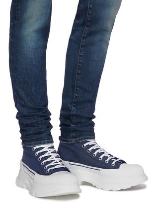 Figure View - Click To Enlarge - ALEXANDER MCQUEEN - 'Tread Slick' contrast sole denim high top sneakers