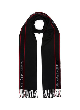 Main View - Click To Enlarge - ALEXANDER MCQUEEN - 'Selvedge' Logo Tape Fringe Edge Wool Scarf