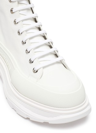Detail View - Click To Enlarge - ALEXANDER MCQUEEN - Tread' contrast sole canvas high top sneakers