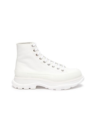 Main View - Click To Enlarge - ALEXANDER MCQUEEN - Tread' contrast sole canvas high top sneakers