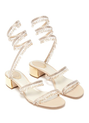 Detail View - Click To Enlarge - RENÉ CAOVILLA - 'CLEO' Strass Embellished Satin Heeled Sandals