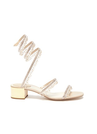 Main View - Click To Enlarge - RENÉ CAOVILLA - 'CLEO' Strass Embellished Satin Heeled Sandals