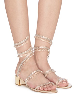 Figure View - Click To Enlarge - RENÉ CAOVILLA - 'CLEO' Strass Embellished Satin Heeled Sandals
