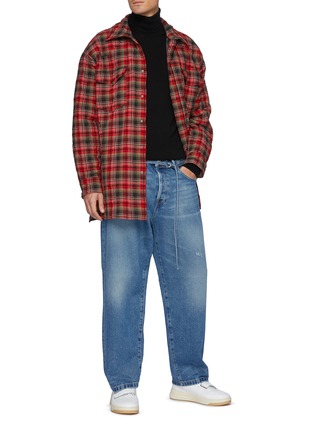 Figure View - Click To Enlarge - ACNE STUDIOS - Belted High Rise Whiskered Denim Jeans