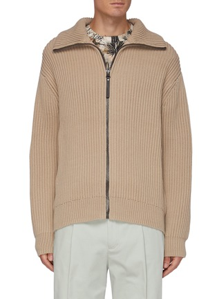Main View - Click To Enlarge - ACNE STUDIOS - High Neck Full Zip Rib Knit Jacket