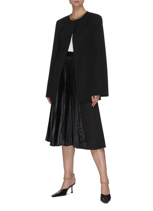Figure View - Click To Enlarge - JIL SANDER - Round neck tailored jacket