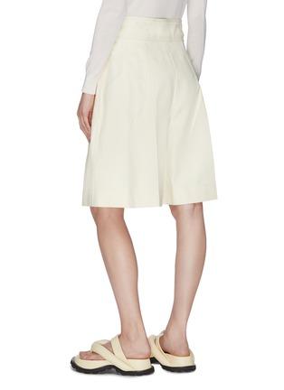 Back View - Click To Enlarge - JIL SANDER - Belted wide leg gathered shorts