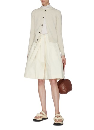 Figure View - Click To Enlarge - JIL SANDER - Belted wide leg gathered shorts