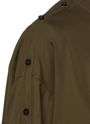 Detail View - Click To Enlarge - JIL SANDER - Belted stand collar button sleeve blouse