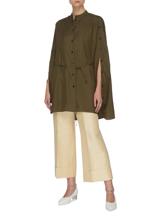 Figure View - Click To Enlarge - JIL SANDER - Belted stand collar button sleeve blouse