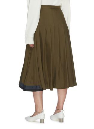 Back View - Click To Enlarge - JIL SANDER - Leather belt pleated wrap skirt