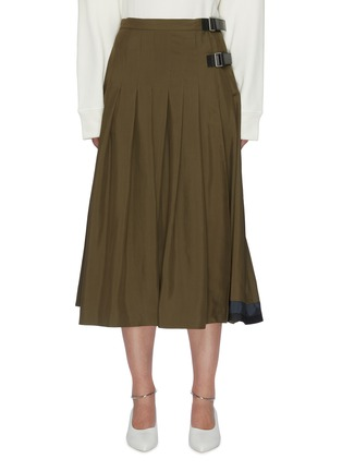 Main View - Click To Enlarge - JIL SANDER - Leather belt pleated wrap skirt