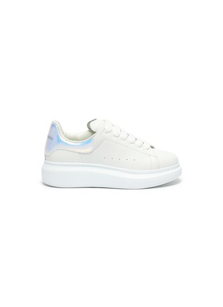 Main View - Click To Enlarge - ALEXANDER MCQUEEN - 'Molly' Iridescent Heel Tab Platform Sole Leather Kids Sneakers
